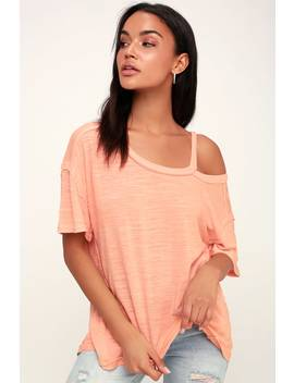 Alex Washed Peach Cutout Tee by Free People