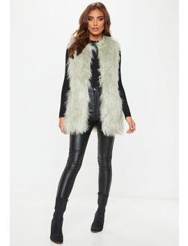 Mint Green Faux Fur Vest by Missguided