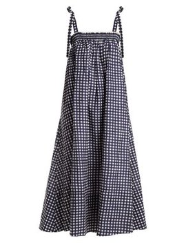 Bastille Square Neck Gingham Cotton Dress by Loup Charmant