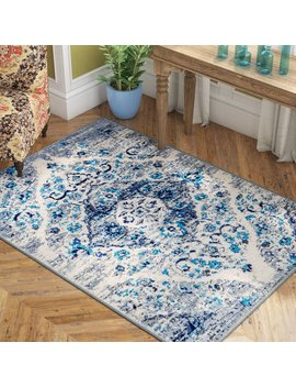 Bungalow Rose Three Lakes Distressed Floral Motif Blue/Gray Area Rug & Reviews by Bungalow Rose