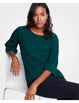 Gathered Sleeve Top by Ann Taylor