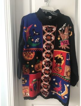 Women's Beldochpopper Sz M Ugly Halloween Sweater Long Witch Pumpkin Scarecrow by Ebay Seller