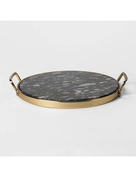 Decorative Round Tray   Gold/Black Marble   Project 62™ by Project 62™