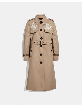 Lace Embroidered Trench Coat by Coach