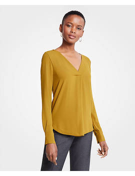Mixed Media Pleat Front Top by Ann Taylor