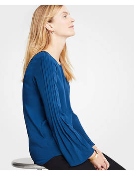 Mixed Media Pleated Sleeve Top by Ann Taylor