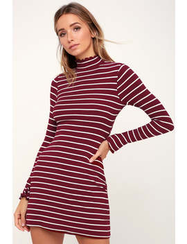 Charm Class Burgundy And White Striped Long Sleeve Dress by Lulus