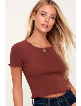 You're The One Brown Lettuce Edge Cropped Tee by Lulus