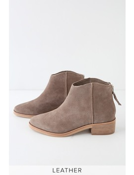 Tucker Dark Taupe Suede Leather Ankle Booties by Dolce Vita