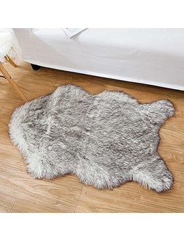 Ojia Deluxe Soft Faux Sheepskin Chair Cover Seat Pad Plain Shaggy Area Rugs For Bedroom Sofa Floor 2ft X 3ft (2ft X 3ft, Grey Mist) by Ojia