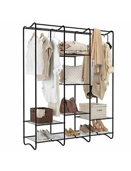 Langria Large Free Standing Closet Garment Rack Made Of Sturdy Iron With Spacious Storage Space, 8 Shelves, Clothes Hanging Rods, Heavy Duty Clothes Organizer For Bedroom, Entryway (Black) by Langria