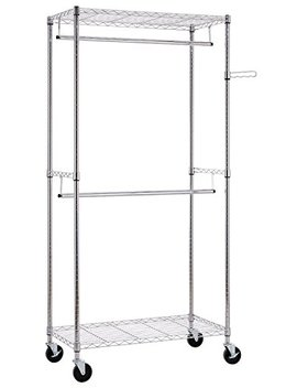 Finnhomy Heavy Duty Rolling Garment Rack Clothes Hangers With Double Rods And Shelves, Thicken Steel Tube, Chrome by Finnhomy