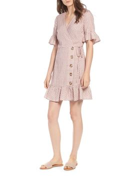 Gingham Ruffle Sleeve Wrap Dress by Nordstrom