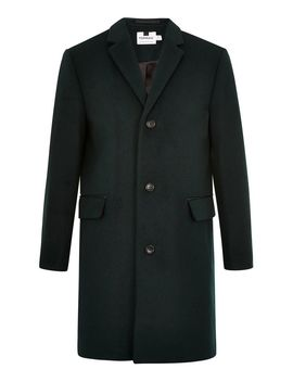 Forest Green Overcoat With Wool by Topman