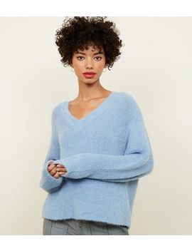 Pale Blue V Neck Fluffy Jumper by New Look