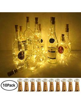 Wine Bottle Lights With Cork, Love Nite 10 Pack Battery Operated Led Cork Shape Silver Copper Wire Colorful Fairy Mini String Lights For Diy, Party, Decor, Christmas, Halloween,Wedding (Warm White) by Love Nite