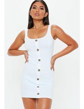 White Horn Button Down Sleeveless Square Neck Ribbed Mini Dress by Missguided