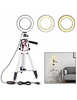 """B Land 5.7"""" Ring Light With Tripod Stand For You Tube Video And Makeup, Mini Led Camera Light With Cell Phone Holder Desktop Led Lamp With 3 Light Modes & 11 Brightness Level by B Land"""