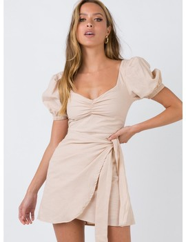 Lauv Mini Dress Beige by Princess Polly