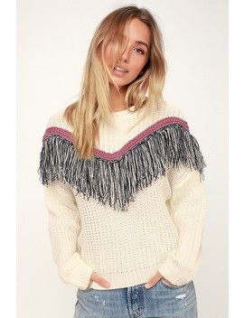 Phenomenon Cream Fringe Knit Sweater by Lush