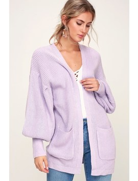 Sweetest Treat Lilac Balloon Sleeve Cardigan Sweater by Lush