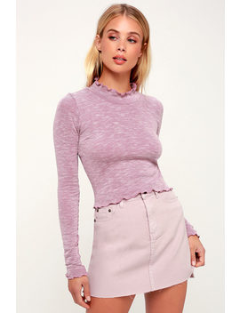 Boulder Heathered Mauve Long Sleeve Lettuce Edge Crop Top by Lucy Love