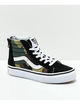 Vans Sk8 Hi Black &Amp; Woodland Camo &Amp; Black Shoes by Vans