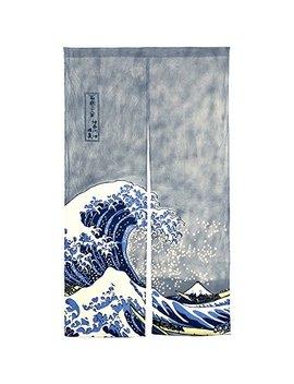 "Neo Concept Japanese Noren Ukiyoe The Great Wave Off Kanagawa Door Way Curtain 59""X33.45"" by Neo Concept"
