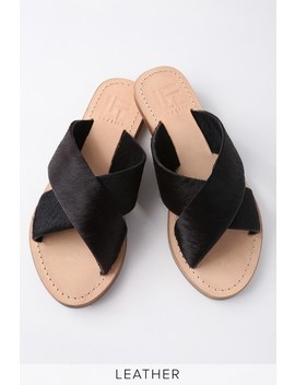 Mira Black Pony Fur Slide Sandals by Lfl