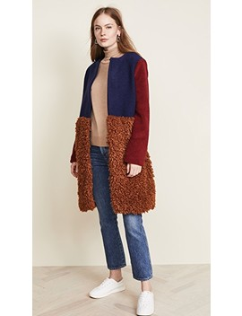 Fuzzy Colorblock Coat by Endless Rose
