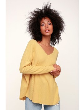 Only For You Light Mustard Yellow Knit Long Sleeve Top by Lulus Basics