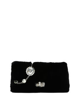 Jeweled Fur Chain Clutch Bag by Miu Miu