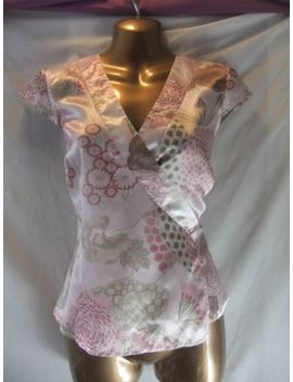 Ladies Red Herring 12 Pink Satin/Pinks Floral/Cap Sleeve/Wrap+Ti<Wbr>Es/Fitted Top by Red Herring