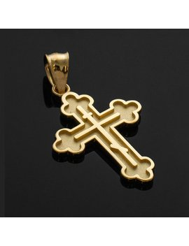 Gold Russian Eastern Orthodox Cross Charm Pendant Necklace (Yellow, White, Rose Gold) by Karma Blingz