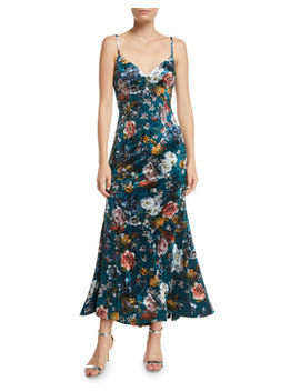 Open Back Velvet Floral Slip Dress by Jovani