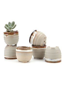 T4 U 2.25 Inch Ceramic Flowing Glaze Solid Gray Base Serial Ring Form Shape Succulent Plant Pot/Cactus Plant Pot Flower Pot/Container/Planter Package 1 Pack Of 6 by T4 U