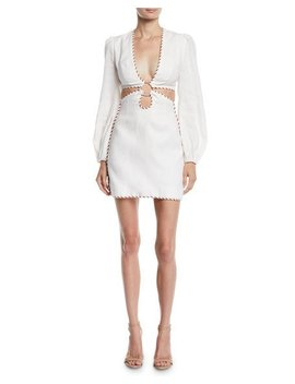 Corsage O Ring Cutout Mini Dress W/ Braided Trim by Zimmermann