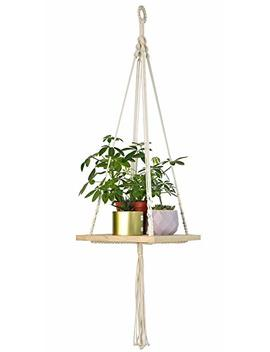 Macrame Plant Hanger   Indoor Planter Haning Shelf   Boho Chic Bohemian Home Wall Hanging Decor   Decorative Flower Pot Holder, For Succulents, Cacti, Herbs, Small Plants by Timeyard