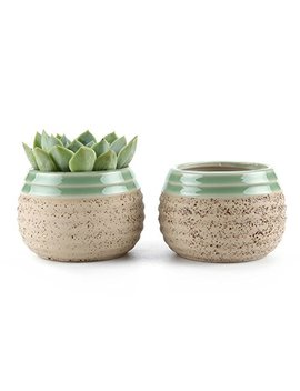 T4 U 3 Inch Clay Glazed Stripe Oblate Succulent Plant Pot/Cactus Plant Pot Flower Pot/Container/Planter Beige Package 1 Pack Of 2 by T4 U