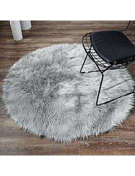 Ojia Deluxe Soft Modern Faux Sheepskin Shaggy Area Rugs Children Play Carpet For Living & Bedroom Sofa (3ft, Grey) by Ojia