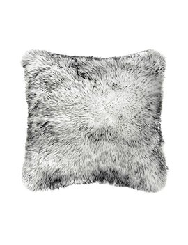 Ojia Deluxe Home Decorative Super Soft Plush Mongolian Faux Fur Throw Pillow Cover Cushion Case (18 X 18 Inch, Black White) by Ojia