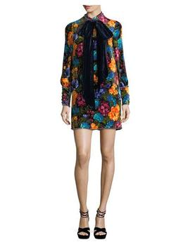 Pictorial Flowers Velvet Dress With Bow by Gucci