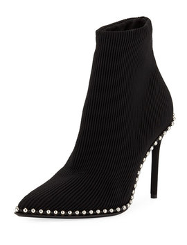 Eri Studded Stretch Knit Sock Booties by Alexander Wang