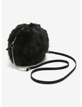 Black Faux Fur Canteen Crossbody Bag by Hot Topic