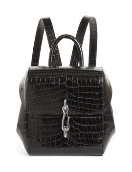 Hook Mini Croc Embossed Leather Backpack by Nordstrom