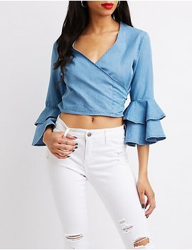 Chambray Ruffle Bell Sleeve Wrap Top by Charlotte Russe