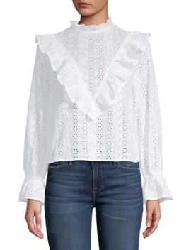 Broderie Anglais Ruffle Top by English Factory