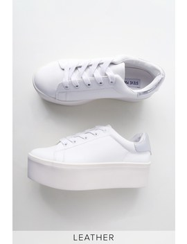 Palmer White Leather Flatform Sneakers by Steve Madden