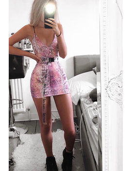 Pink Snake Print Strappy Plunge Bodycon Dress   Gilia by Rebellious Fashion