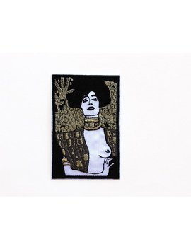 Gustav Klimt Judith 1 Embroidered Patch Iron On Patches For Jackets Art Nouveau Artist Patch Woman In Gold Judith And The Head Of Holofernes by Patchhaven